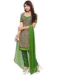 SareeShop Women's Georgette Semi-Stitched Dress Material (B2B3009_Green_Free Size)