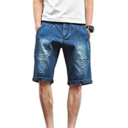 Men\'s summer casual sky blue loose jeans shorts big plus size denim pants short (4XL, Sky Blue)