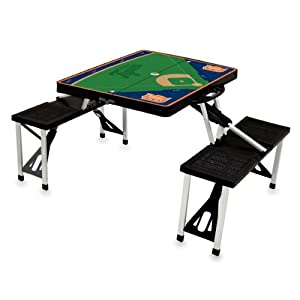 MLB Detroit Tigers Baseball Field Design Portable Folding Table and Seats, Black by Picnic Time