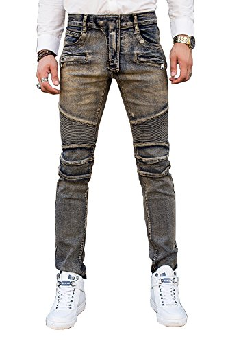 COUSIN CANAL Uomo magro Patchwork pista Distressed Denim Slim Biker Jeans strappati 039 28