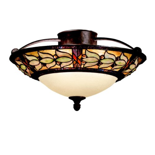 B000H6Y7QK Kichler Lighting 69045 2-Light Art Glass Collection Semi-Flush Ceiling Light, Tannery Bronze with Gold Accent
