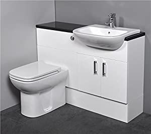 Gloss White Fitted Bathroom Furniture 1100mm With Basin Sink And Toilet Kitchen
