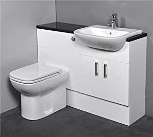 Gloss White Fitted Bathroom Furniture 1100mm With Basin