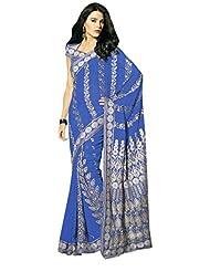Anvi Creations Navy Blue Schiffli Embroidered Georgette Saree (Navy Blue_Free Size)