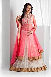 Bhavya Enterprise Pink Cotty Brasso Net Lehenga