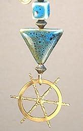 Safe Sailing Nautical Good Luck Charm Ship\'s Helm Wheel Blue Porcelain Triangle Ceiling Fan Pull Chain