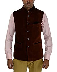 Panache Velvet Men's Nehru Jacket (Brown,40)