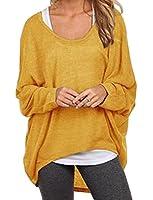 Encounter Damen Longshirt Bluse Shirt Pulli weit geschnitten mit Fledermausaermel Top