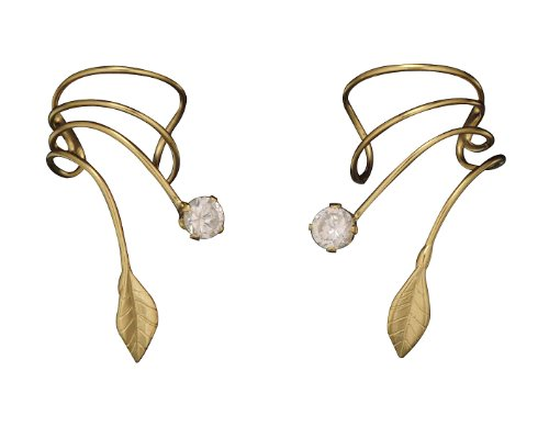 Gold Vermeil Pierceless Left And Right Ear Cuff Wrap Earrings Clear Cu