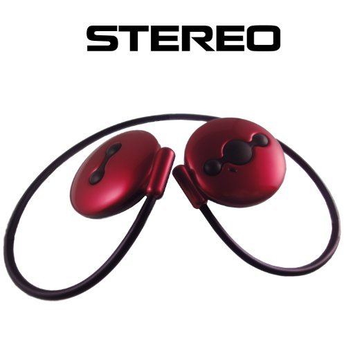 Red Wireless Stereo Bluetooth Headset With Built-In Mic For All Iphone Phones