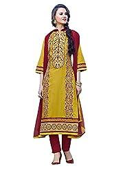Rozdeal New Mustard & Maroon Cotton Designer Salwar Suit