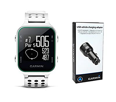 Garmin Approach S20 Golf GPS Watch (White) with USB Car Charge Adapter | Activity Tracker, Smart Notifications & 40,000+ Worldwide Courses