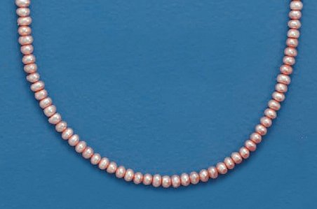 4mm Pink Button Cultured Freshwater Pearls Necklace, 13 + 2 inch Ext, Child-Size, Sterling Clasp