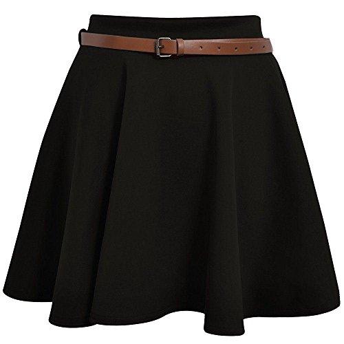 New Womens Ladies Belted Skater Flared Jersey Plain Mini Party Dress Skirt 8-14 Black S/M UK 8/10