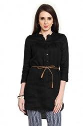 Women 3/4Th Solid Linen Tops