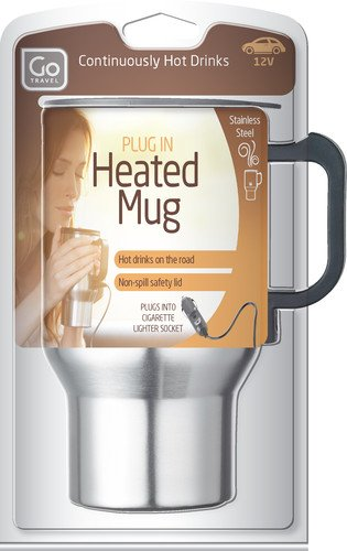 Design Go Go Travel Heated Mug, Silver, One Size front-153517