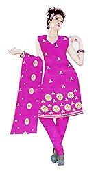 Sagi Women's Cotton Unstitched Dress Material (SECDM-06_Magenta_Free Size)