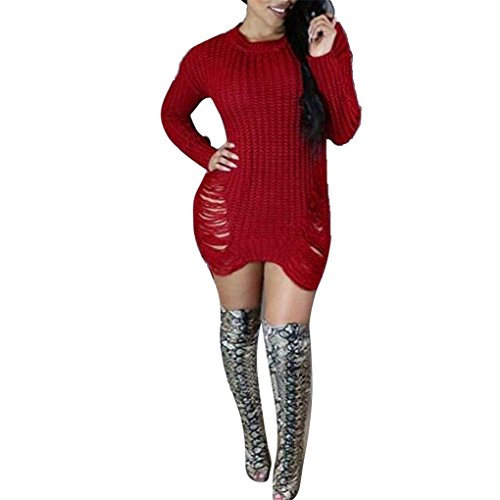 Women Dress,Haoricu Autumn Winter Women Girls Hollow Tassel Long Sleeve Knit BodyCon Slim Party Sweater Dress (XL, Red)