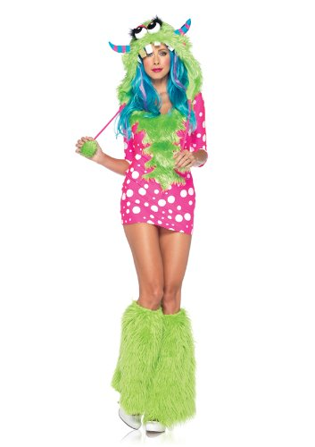 Leg Avenue Women's 2 Piece Melody Monster Dotted Dress with Furry Monster Hood