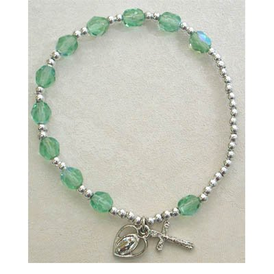 Adult Womens Stretch Rosary Bracelet Birthstone Peridot August.