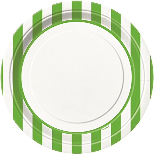 Lime Green Striped Dinner Plates, 8ct