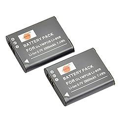 DSTE® 2x Li-90B Replacement Li-ion Battery for Olympus SH-1 SH-50 iHS SH-60 SP-100 SP-100EE Tough TG-1 TG-2 TG-3 XZ-2 iHS Camera as LI-92B