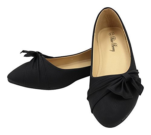 Enimay Women's Professional Pointed Toe Shoes Canvas Flats Adorned Ribbon Bow Black 8