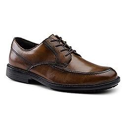 Dockers SureGrip Mens Authority Tan Moc Toe Oxford Slip Resistant Work Shoes 10M