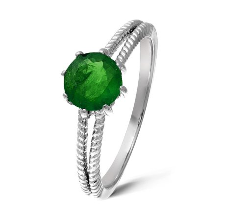 Stylish 9 ct White Gold Ladies Solitaire Engagement Ring with Chrome Diopside 1.00 Carat