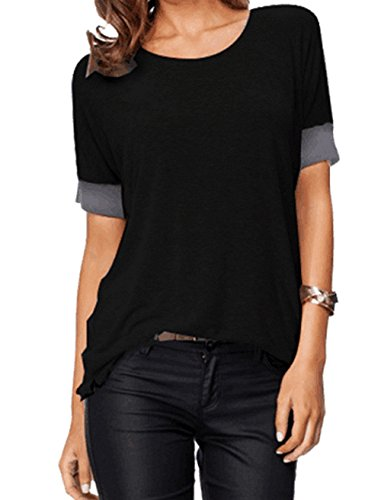 Sarin Mathews Women's Casual Round Neck Loose Fit Short Sleeve T-Shirt Blouse Tops Black XL (Plus Size Casual Tops compare prices)