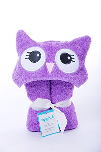 Happy Kid Organics - Infant Hooded Towel - Purple Owl front-115377