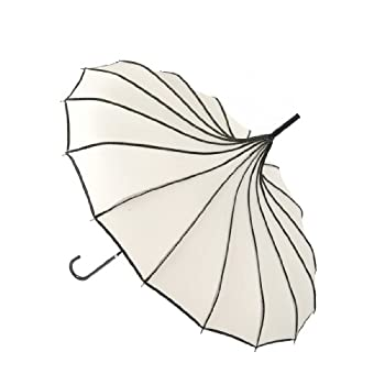 "Remedios 35"" Vintage Hook Handle Stick Pagoda Nylon Sun Parasol Wedding Umbrella, Ivory"