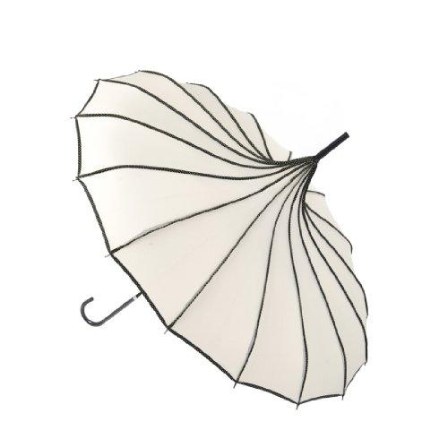 "Remedios 35"" Vintage Hook Handle Stick Pagoda Nylon Sun Parasol Wedding Umbrella, Ivory 0"