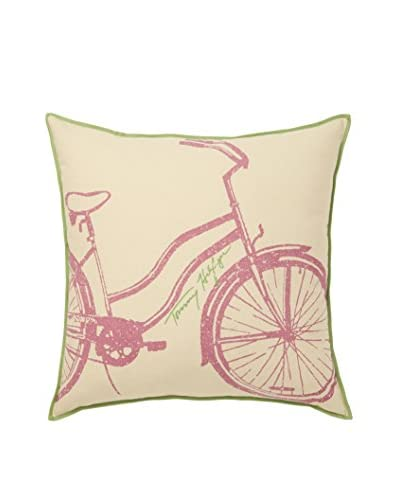 Tommy Hilfiger Bicycle Decorative Pillow, Green/Pink