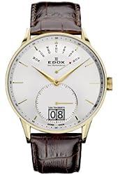 Edox Les Vauberts Silver Dial Brown Leather Mens Watch 34005-37-JA-AID