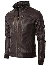 Doublju Mens Faux Leather Jacket with Slim Fit BROWN (US-L)