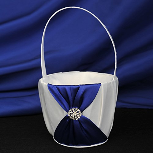 Topwedding White Satin Flower Girl Basket with Royal Blue Bow and Rhinestone (Flower Girl Basket Blue compare prices)