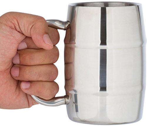 Insulated Coffee Mug & Beer Mug / 16.9 Oz. by Bar Brat: Forget Glass / Bonus Lid Included / Perfect Gift For Men / 110 Cocktail Recipe Ebook Included