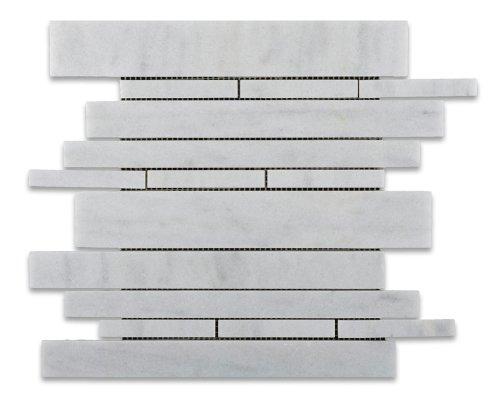Bianco Venatino Marble Polished Random-Strip Mosaic Tile on Mesh - Box of 5 sq. ft.