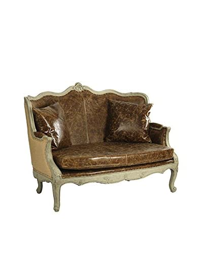 Zentique Adele Jute & Leather Settee, Brown/Olive Green