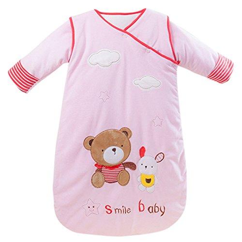 Baby Girls Pink Sleep Nest Sleeping Bag Cartoon Bear Cotton Fleece Sleeper Sack Clothes 0-6M