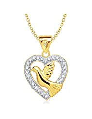 Vina Jewels Pigeon Heart Shape Gold And Rhodium Plated Pendant - P1141G [VKP1141G]