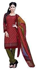 CRAFTLIVA Red & Green Printed Crepe Dress Material
