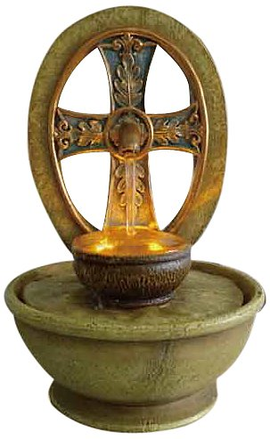 Ore International FT-1205/1L Cross LED Tabletop Fountain, 9-Inch