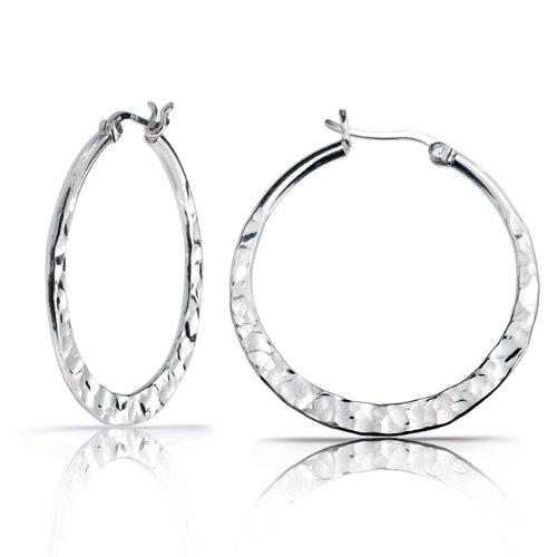 Bling Jewelry Sterling Silver Hammered Hoop Earrings