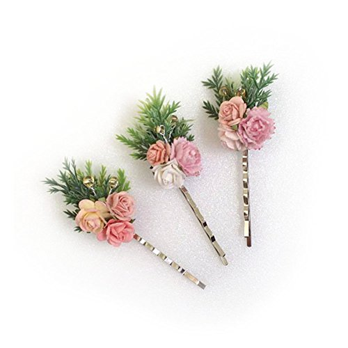 3 paper flower hair bobby pins, hair pin, flower hair clips, Hair Accessories, (Mane Clip compare prices)