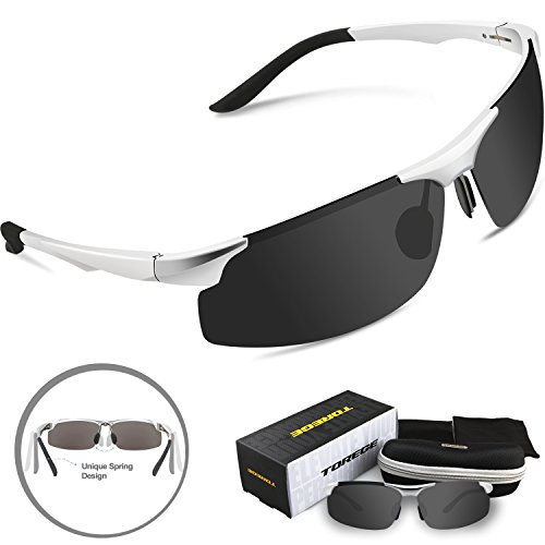 Torege Men's Sports Style Polarized Sunglasses Driver Glasses Unbreakable Frame M291 (Sliver&Black Lens) (Cheap Colored Contact Lenses compare prices)