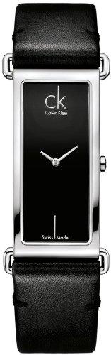 Calvin Klein K0I23102 - Reloj de mujer de cuarzo, correa de piel color negro