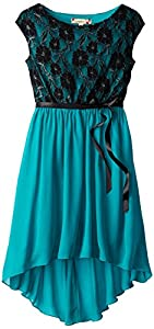 Speechless Big Girls' Lace To Chiffon Dress, Jade/Black, 10