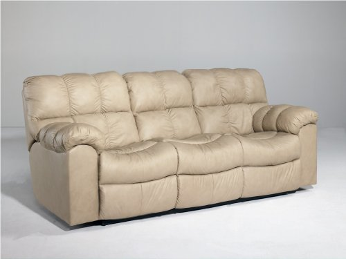Contemporary Chamois Max Double Reclining Loveseat w/ Console